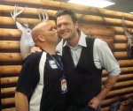 "Buck S. - Bloomington, IL ""Blake is notorious for kissing unsuspecting radio guys at his meet-n-greets. This time Buck turned the tables and kissed him first!"""